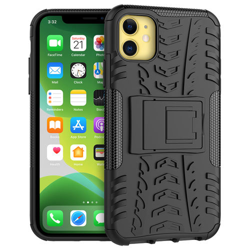 Dual Layer Rugged Tough Shockproof Case for Apple iPhone 11 - Black